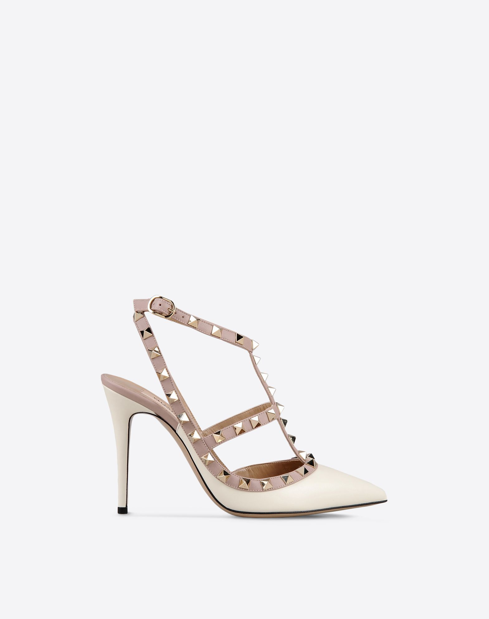 VALENTINO Studs Solid colour Buckling ankle strap closure Leather sole Narrow toeline Spike heel  11001438pw
