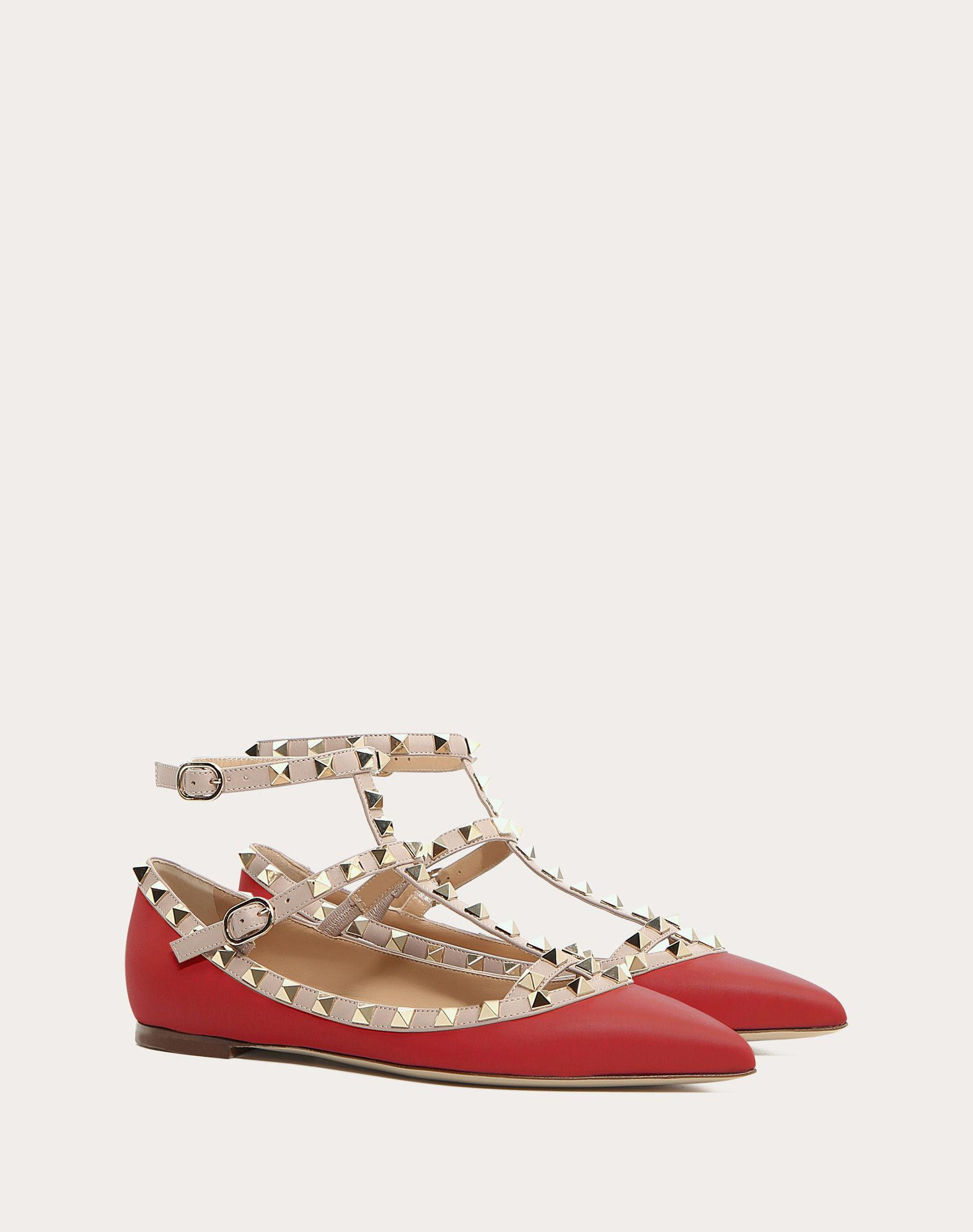 VALENTINO Studs Leather Two-tone pattern Buckle Leather sole Narrow toeline  11005796nu