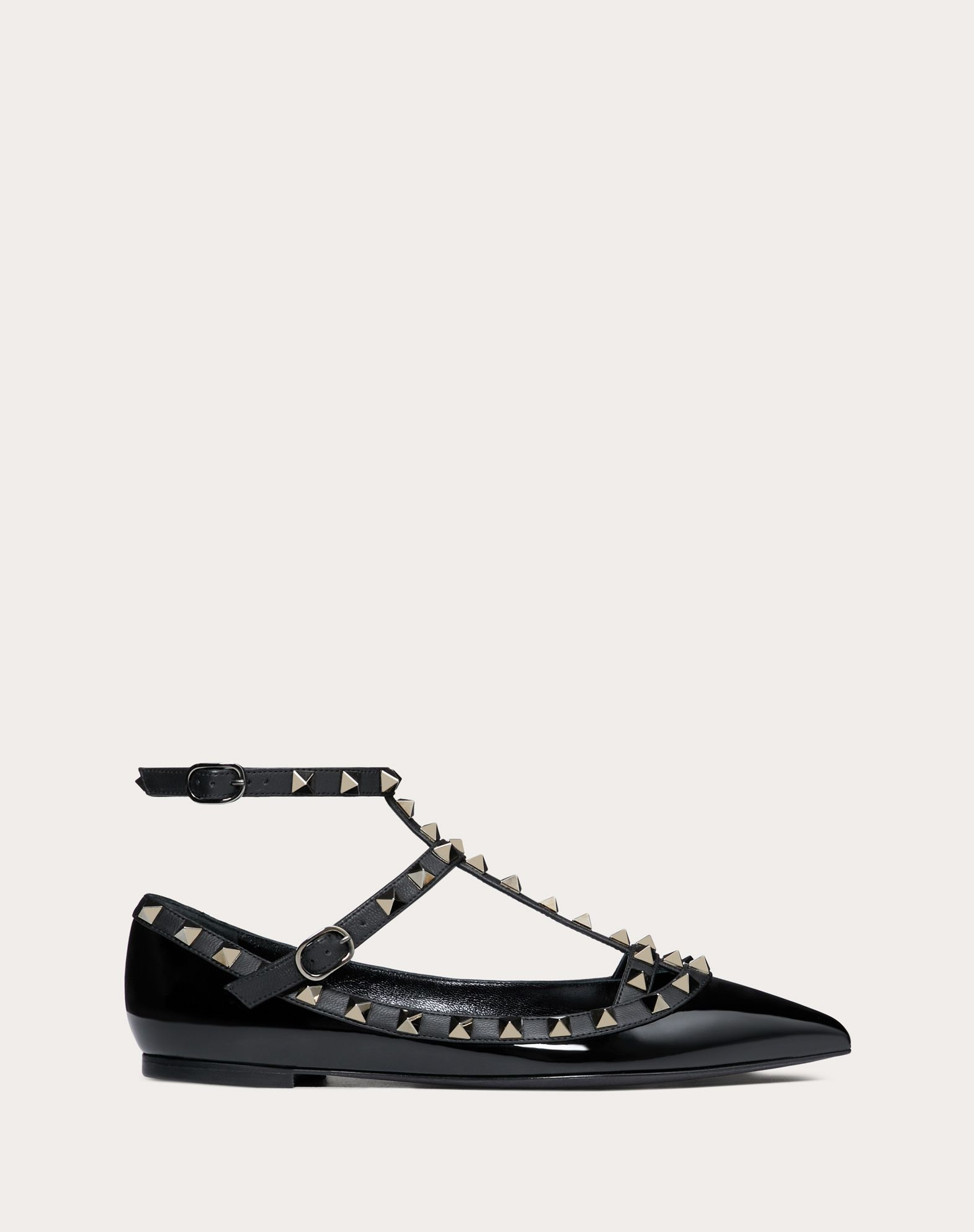 VALENTINO Studs Varnished effect Leather Solid color Buckle Leather sole  Narrow toeline 11005805hv