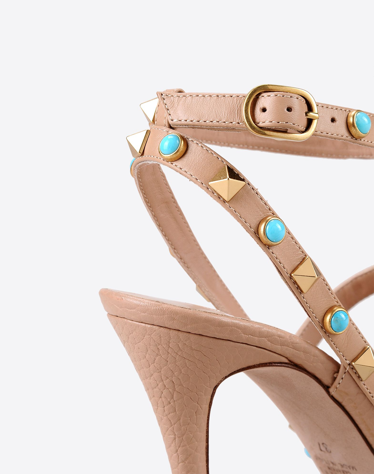 VALENTINO Studs Textured leather Solid color Buckling ankle strap closure Leather sole Narrow toeline Spike heel  11009781tp