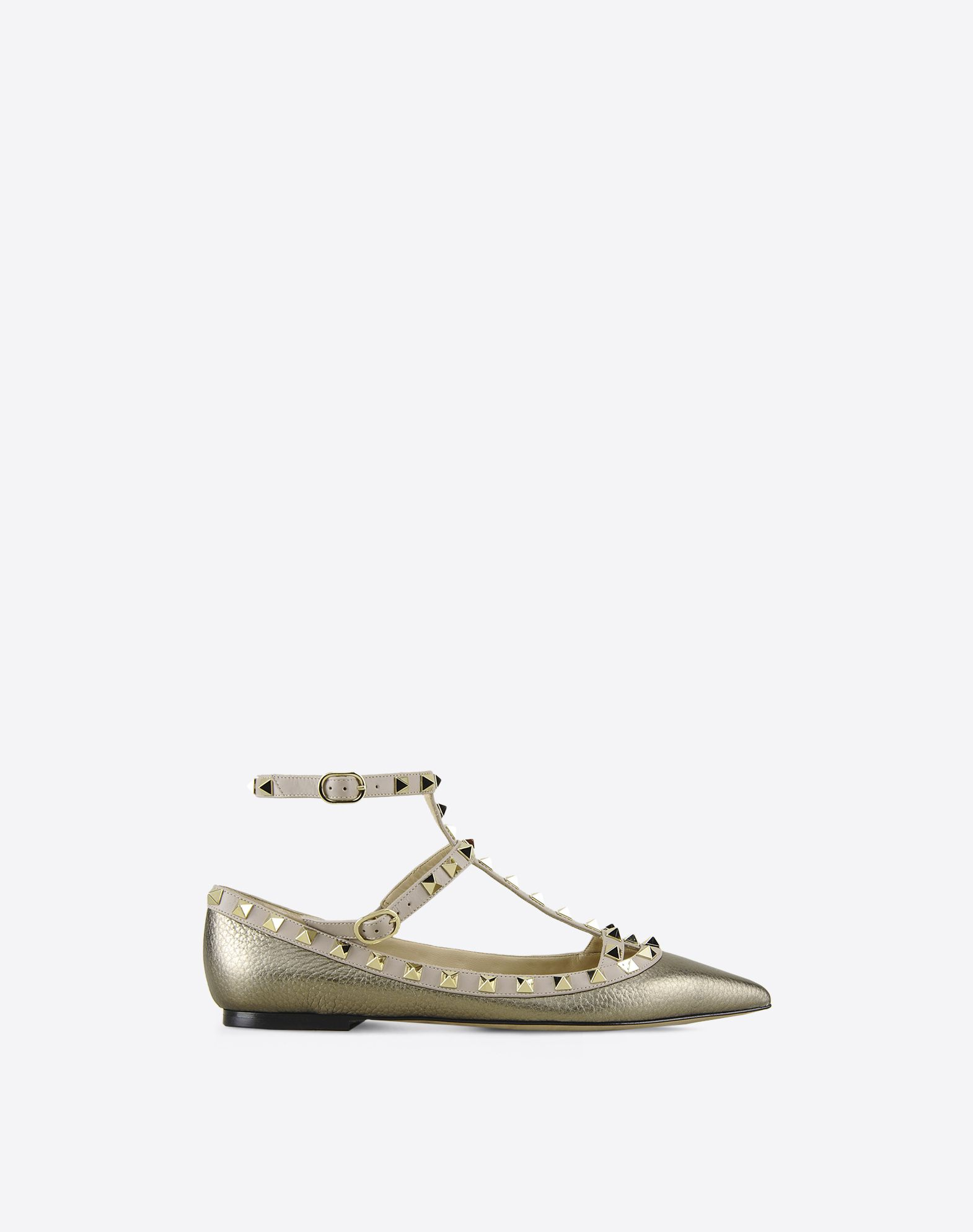 VALENTINO Narrow toeline Two-tone pattern Metal Applications Leather sole  11022941bl