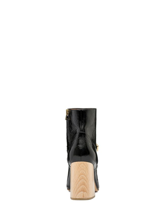 Marni Half boot in varnished calfskin with wooden heel Woman