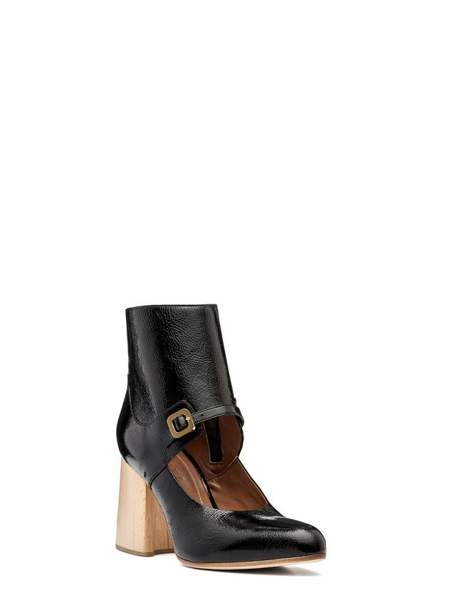 Marni Half boot in varnished calfskin with wooden heel Woman - 2