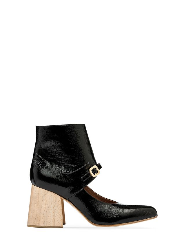 Marni Half boot in varnished calfskin with wooden heel Woman - 1