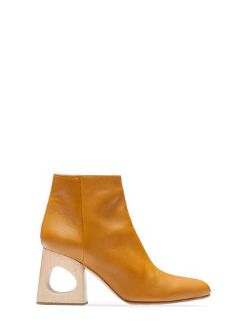 Marni Half boot in lambskin with wooden heel Woman