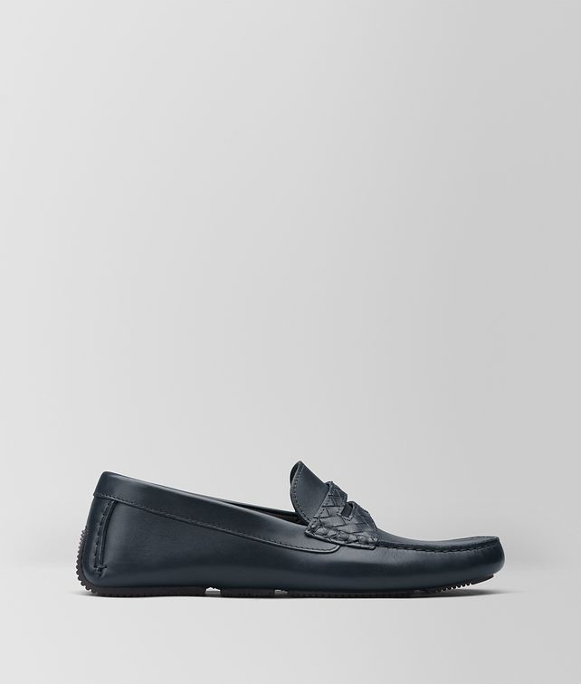 BOTTEGA VENETA DARK NAVY CALF WAVE DRIVER Mocassin or Slipper Man fp