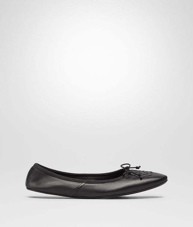 BOTTEGA VENETA NERO NAPPA LEATHER PICNIC BALLERINA Flat Woman fp