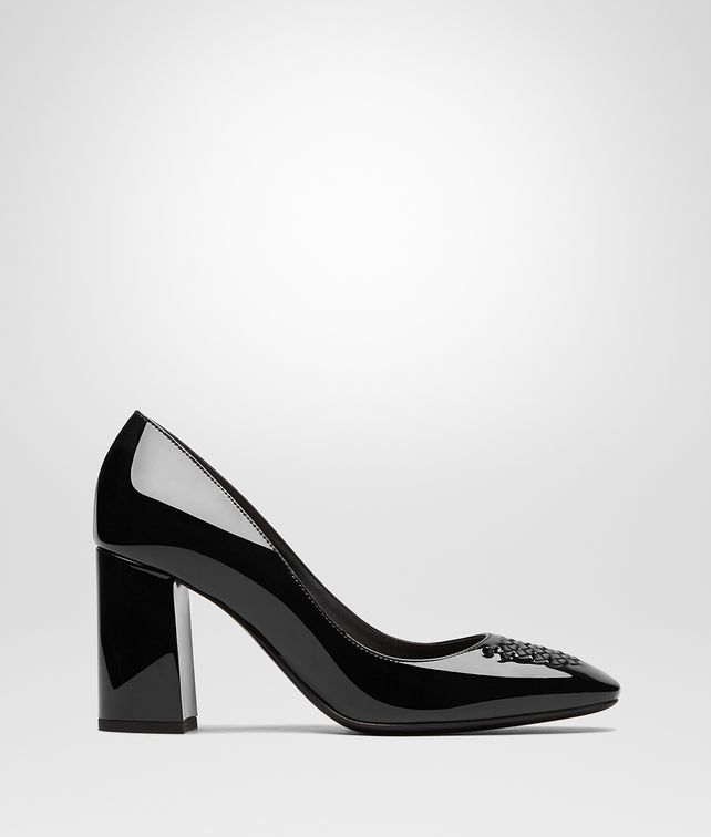 BOTTEGA VENETA CHERBOURG PUMPS IN NERO PATENT CALF, INTRECCIATO DETAILS Pump or Sandal Woman fp