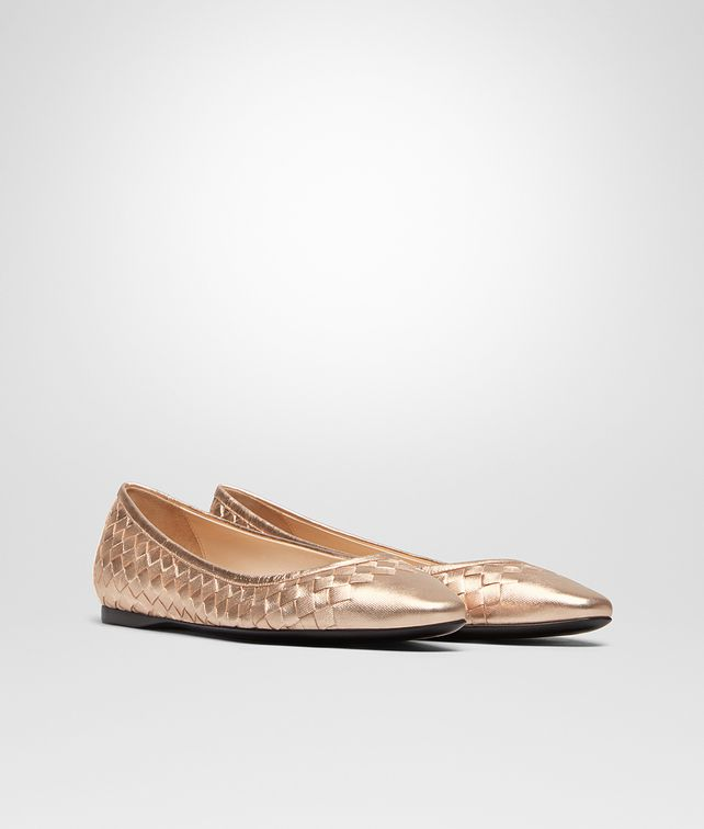 afe1c3d18a8 BOTTEGA VENETA LIGHT BALLERINA IN ROSE GOLD INTRECCIATO GROS GRAIN Flat  Woman fp