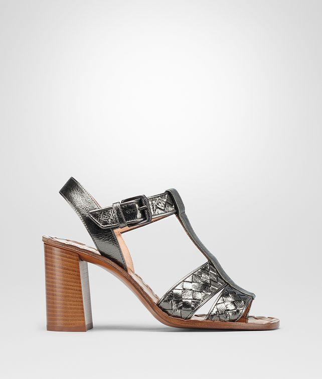 BOTTEGA VENETA RAVELLO SANDALS IN ARGENTO ANTIQUE INTRECCIATO CALF Pump or Sandal Woman fp