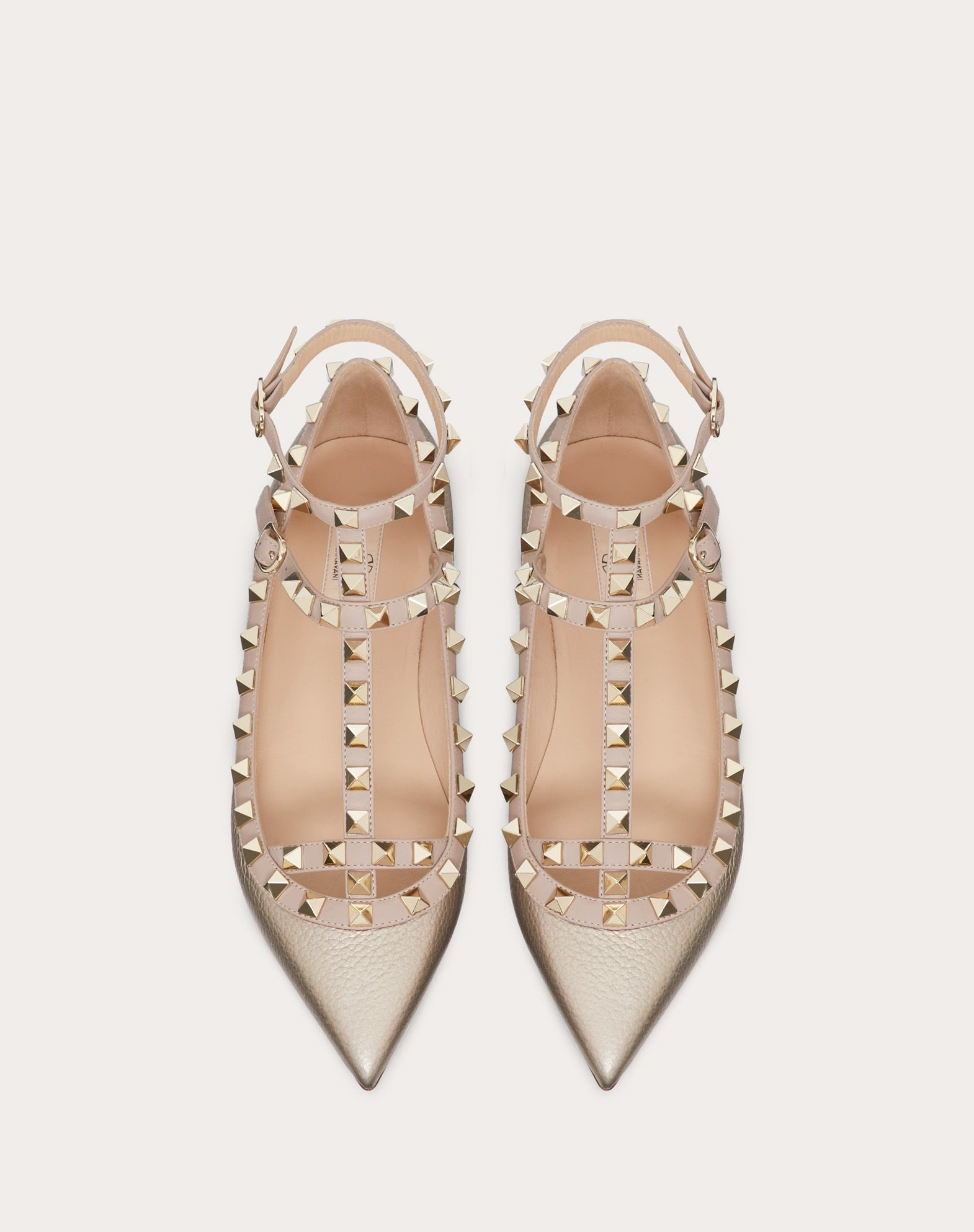 VALENTINO Studs Two-tone pattern Wrapping straps closure Leather sole Textured leather Narrow toeline  11049192qp