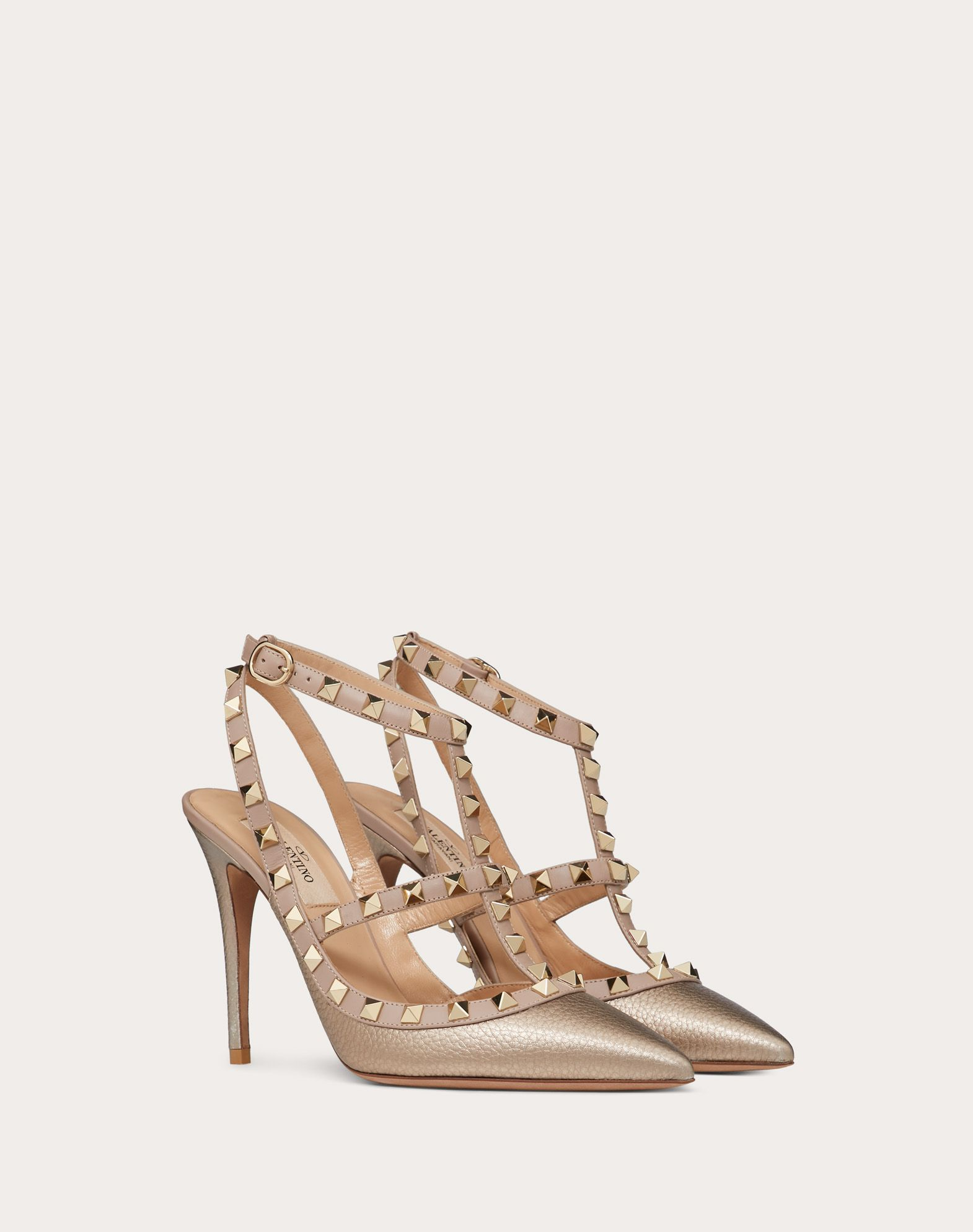 VALENTINO Spike heel Studs Buckling ankle strap closure Narrow toeline Leather lining Leather sole  11052392db