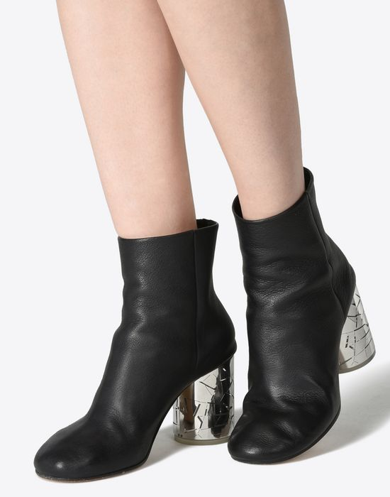 custom how to purchase 100% original Maison Margiela Round Toe Ankle Boots With Metallic Heels ...