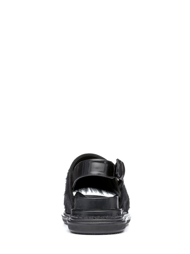 Marni Fussbett strap sandal in calfskin and beaver Woman