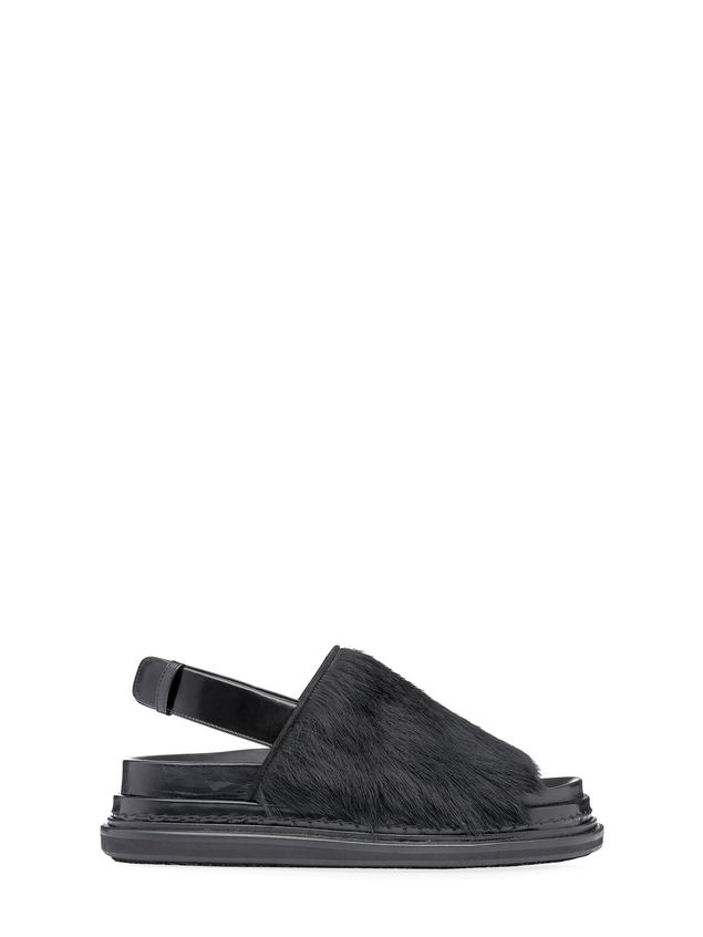 Marni Fussbett strap sandal in calfskin and beaver Woman - 1