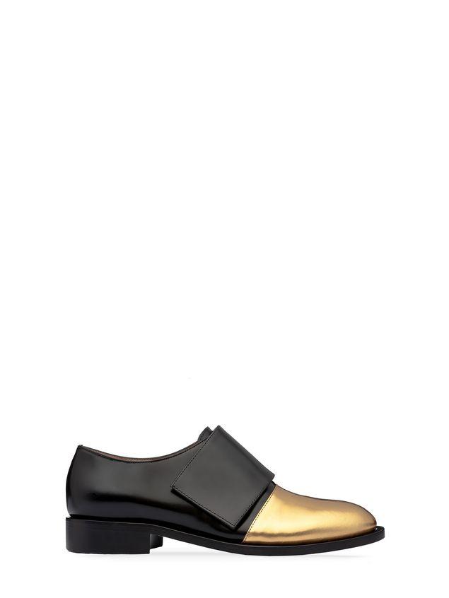 bc9c5034d96 Marni Black-gold calfskin moccasin Woman - 1 ...