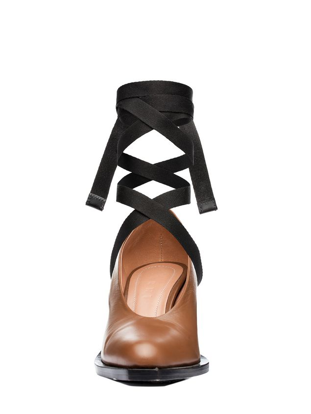 Marni Court shoe in lambskin with black laces Woman - 4