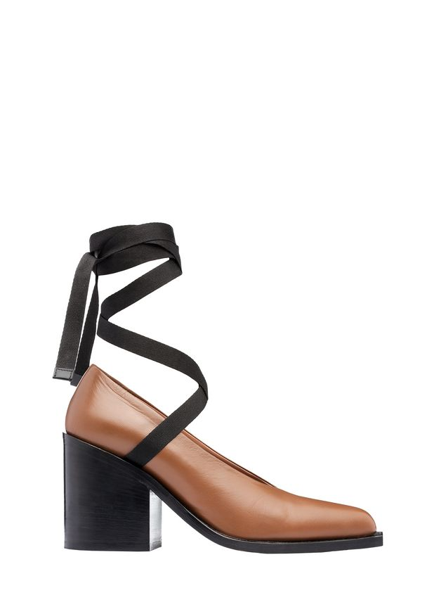 Marni Court shoe in lambskin with black laces Woman - 1
