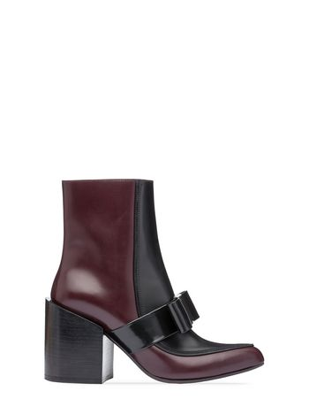 Marni Pointed half boot in calfskin with bow Woman