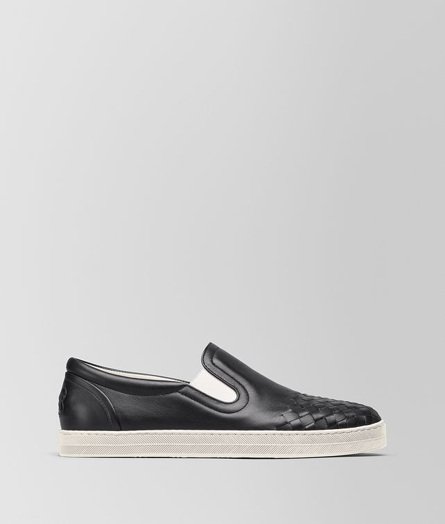 BOTTEGA VENETA SAIL SNEAKER IN NERO CALF, INTRECCIATO DETAILS Trainers D fp