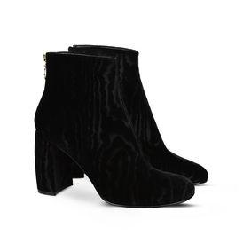 Black Textured Velvet Boots