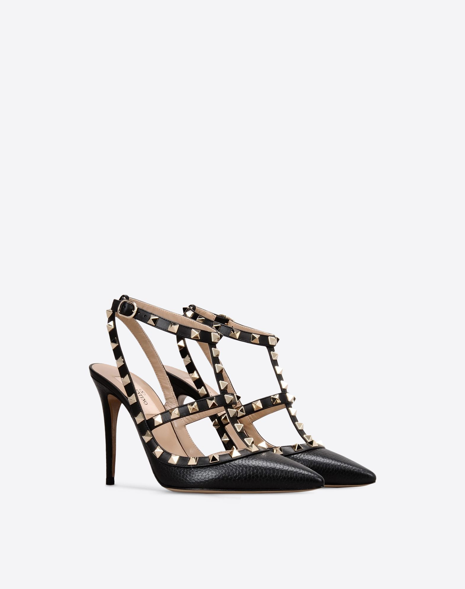 VALENTINO Studs Solid color Buckle Leather sole Textured leather Narrow toeline Spike heel  11061676qb