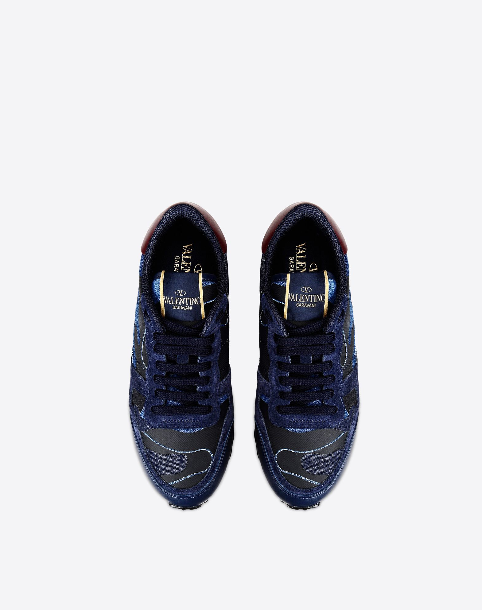 VALENTINO Logo Rubbery effect Sueded Denim Multicolour Pattern Laces Rubber cleated sole Round toeline  11063099pb