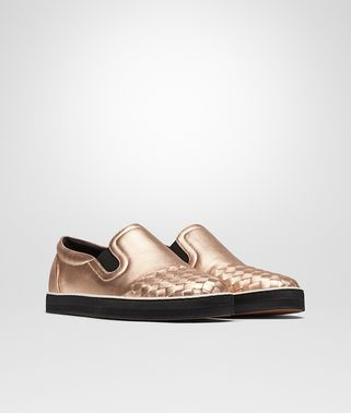 SAIL SNEAKER IN ROSE GOLD GROS GRAIN, INTRECCIATO DETAILS
