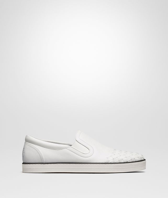 BOTTEGA VENETA SAIL SNEAKER IN BIANCO CALF, INTRECCIATO DETAILS Trainers Man fp