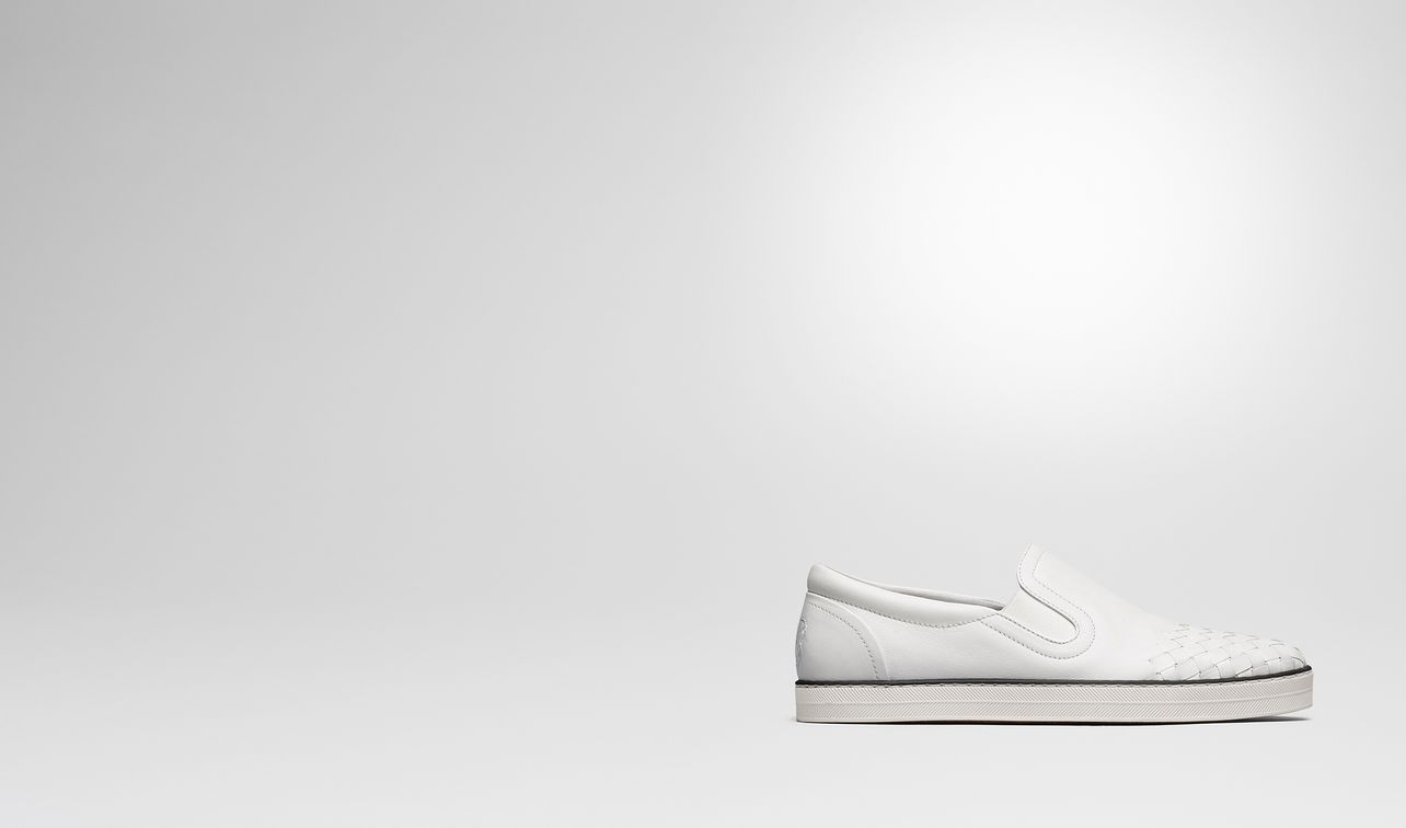 sail sneaker in bianco calf, intrecciato details landing