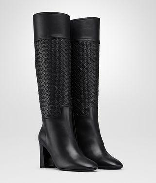 黑色编织小牛皮靴
