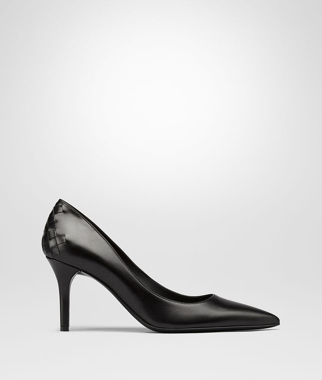 BOTTEGA VENETA TIPPIE PUMPS IN NERO CALF, INTRECCIATO DETAILS Pump or Sandal D fp