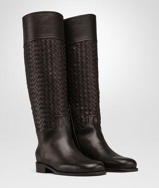 深咖啡色编织小牛皮靴
