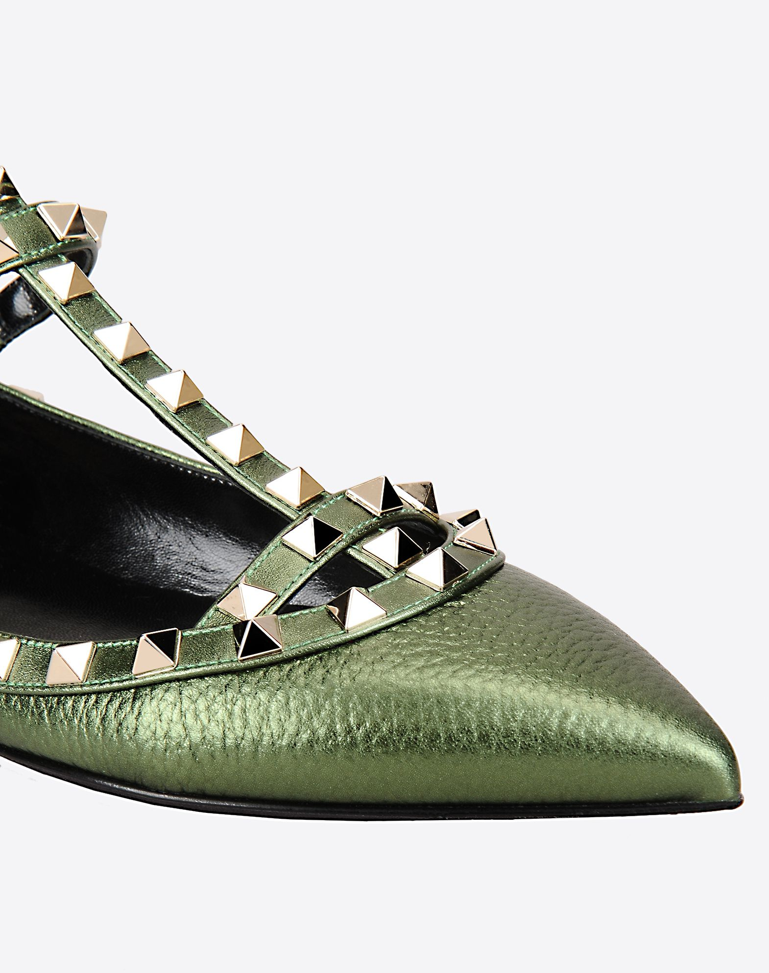 VALENTINO Studs Laminated effect Textured leather Solid colour Buckling ankle strap closure Leather sole Narrow toeline  11073868aw