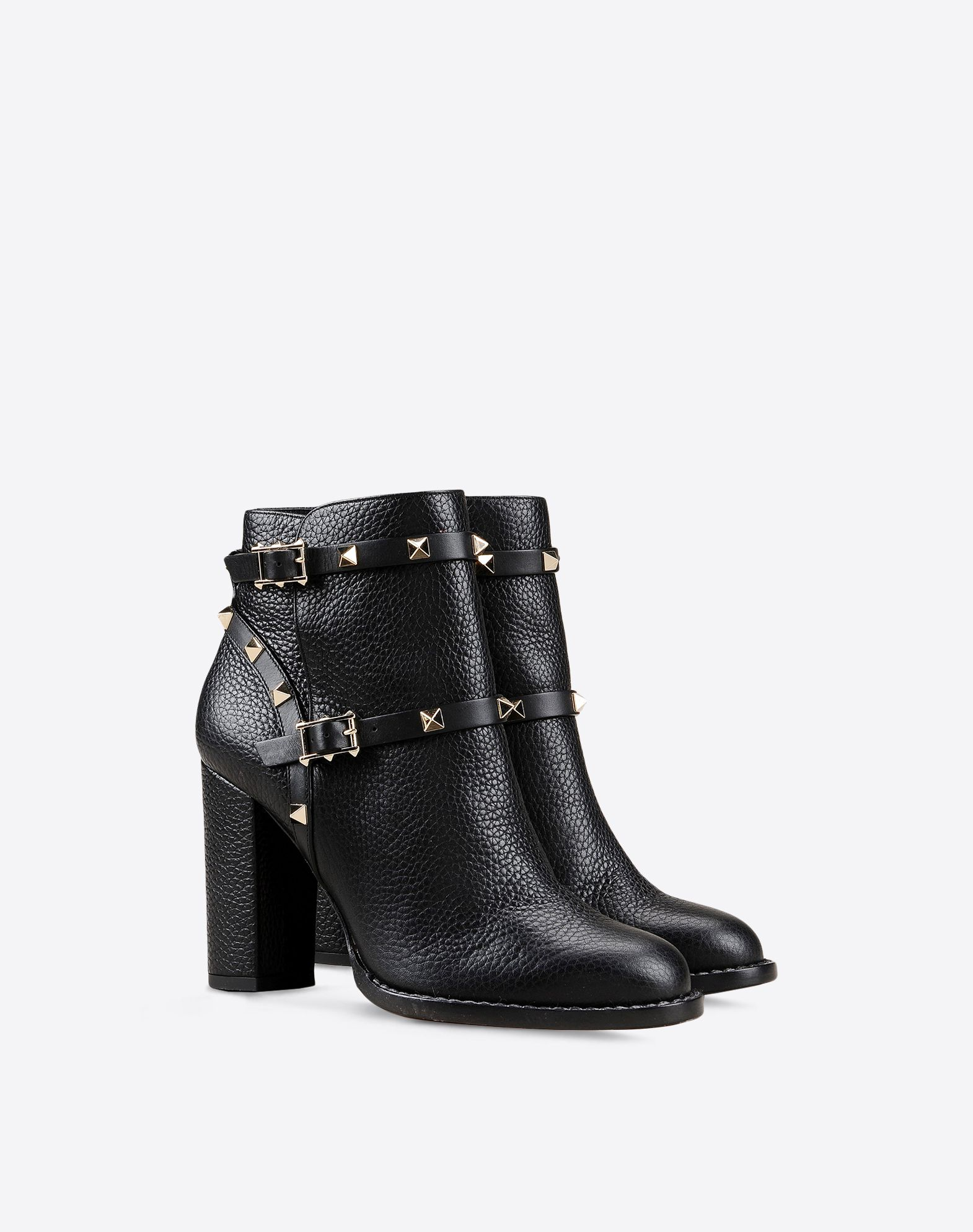 VALENTINO Studs Buckle Leather sole Round toeline Covered heel Textured leather  11075659rk