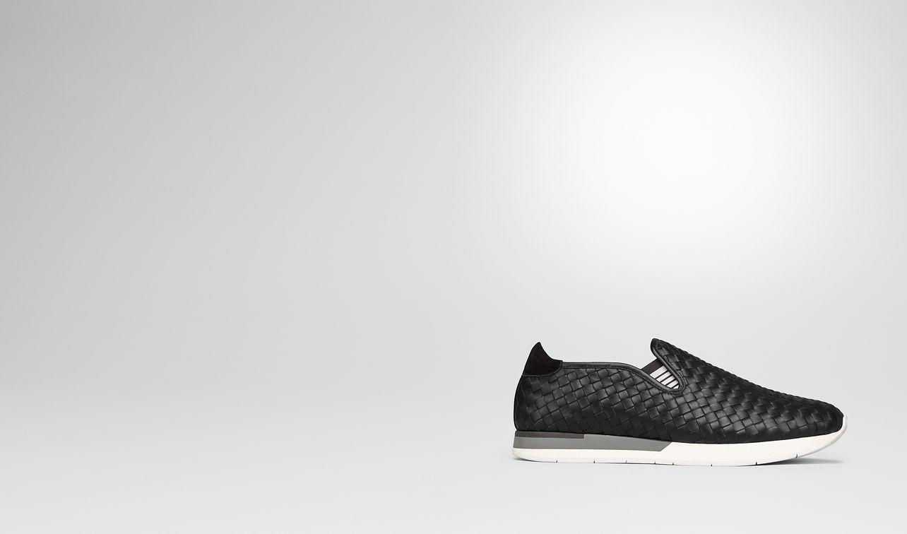sneaker in nero intrecciato calf landing