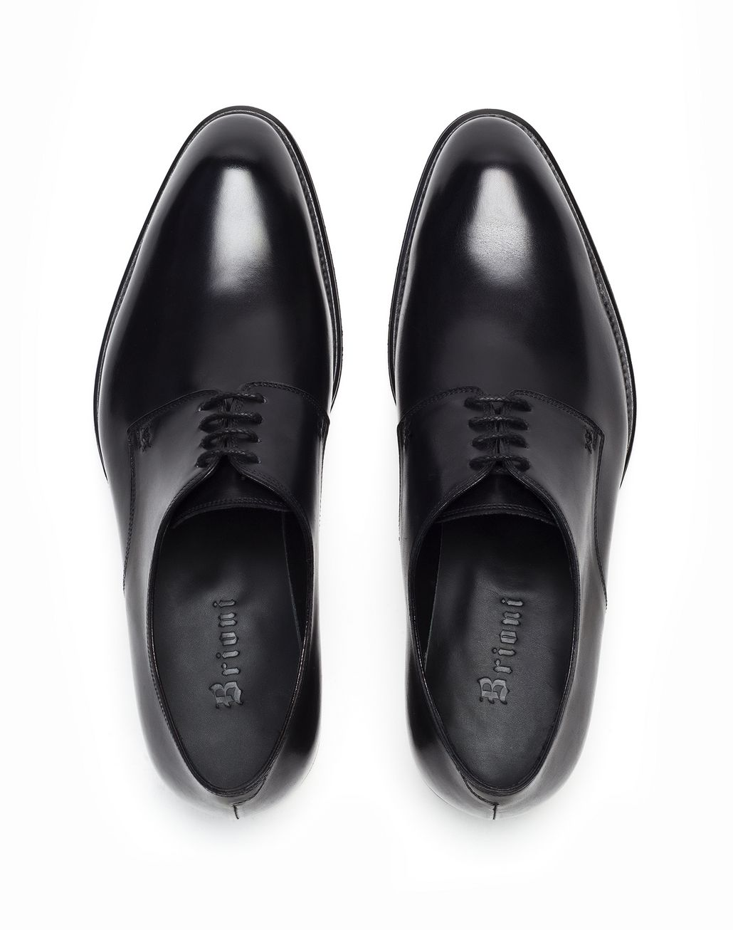BRIONI Black Calfskin Derby Derbies Man r