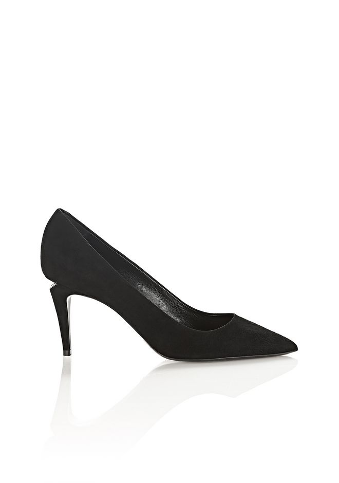 ALEXANDER WANG new-arrivals-shoes-woman TRISTA SUEDE MID HEEL PUMP WITH RHODIUM