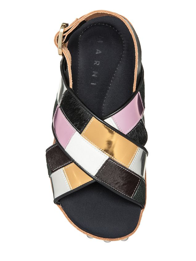 Marni Sandal in patchwork baby calf  Woman - 4