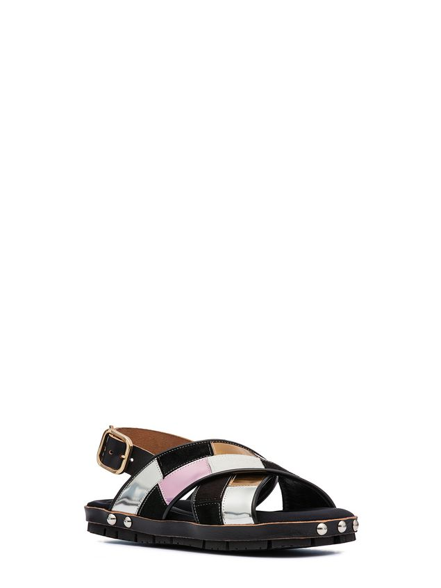 Marni Sandal in patchwork baby calf  Woman - 2