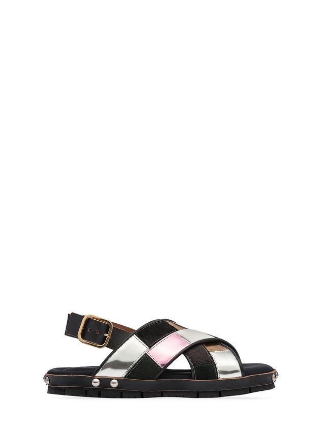 Marni Sandal in patchwork baby calf  Woman - 1