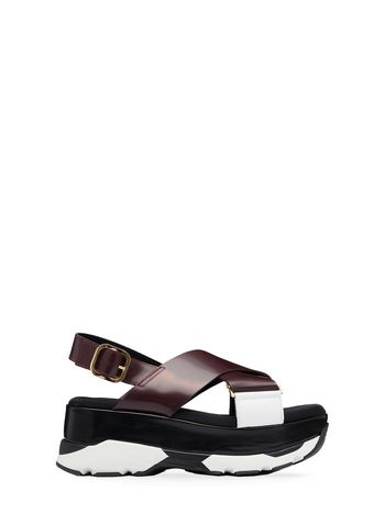 Marni Crossover sandal in two-color calfskin Woman