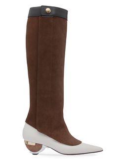 Marni Boot in reverse calfskin, sculptural heel Woman