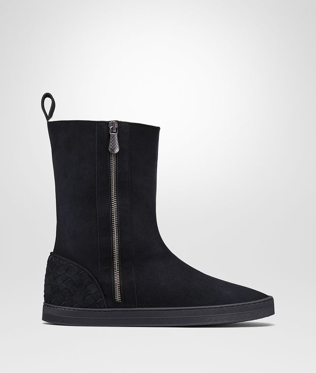 BOTTEGA VENETA WINTER LAGOON BOOTS IN DARK NAVY MONTONE, INTRECCIATO DETAILS Boots and ankle boots D fp