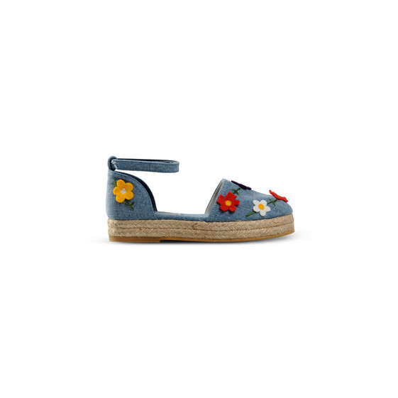 Denim Felt Flowers Espadrilles