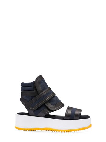 Marni Canvas wedge sandal with velcro Woman