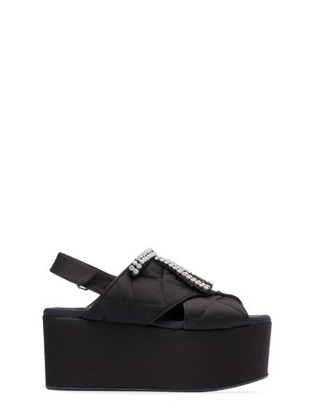 Marni Quilted satin wedge with crystal bow Woman