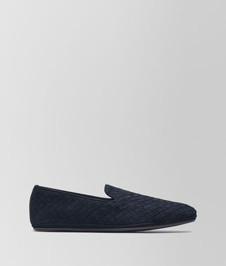 SLIPPER FIANDRA IN SUEDE INTRECCIATO DARK NAVY