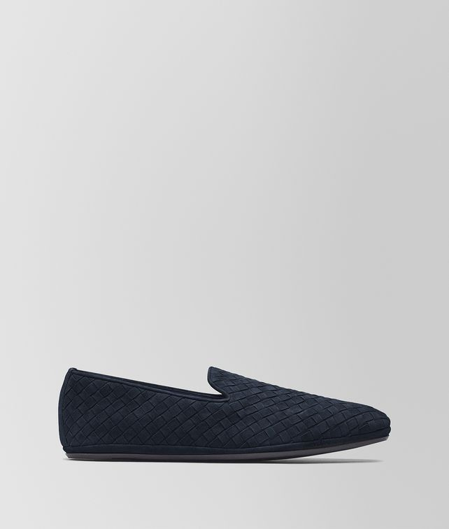 BOTTEGA VENETA DARK NAVY INTRECCIATO SUEDE FIANDRA SLIPPER Mocassin or Slipper Man fp