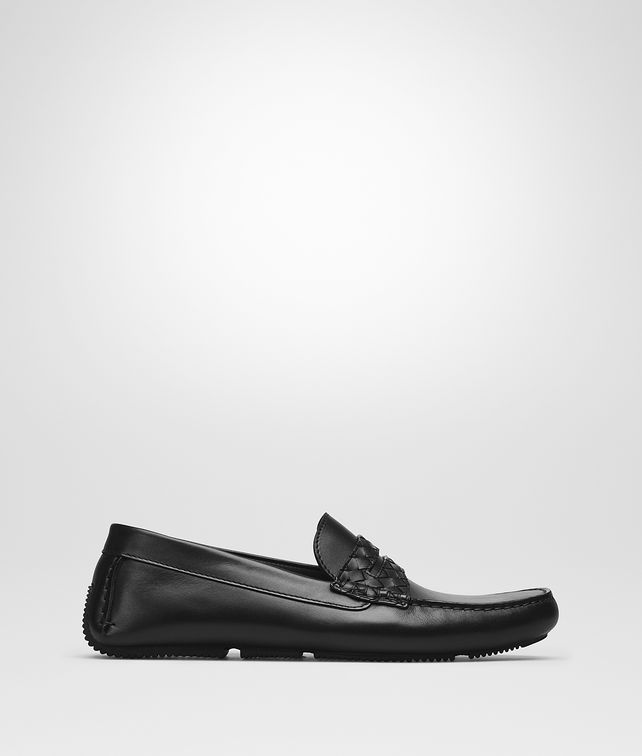 BOTTEGA VENETA WAVE DRIVER IN NERO CALF, INTRECCIATO DETAILS Mocassin or Slipper Man fp